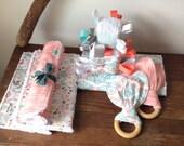 Succulent Cacti Baby Gift Set, Burp Cloths, Wood Teether Toys, Plush Baby Blocks, Ribbon Sensory Toy, Baby Rattle, Reversible Bandanna Bib