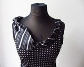 Black Studded Tank Top detailed with Repurposed Necktie, Gothic Tops, Upcycled Shirts, Silver and Black Tank Top, Black Shirt with Studs