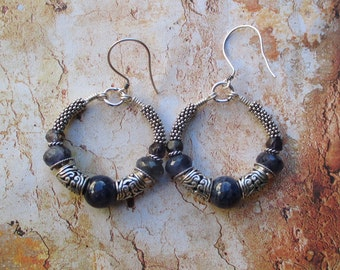 Sterling Iolite bali hoop Earrings - AA iolite Sterling bali beads
