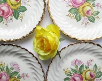 Vintage Royal Quban Floral Dinner Plates Set of Four - Weddings Bridal