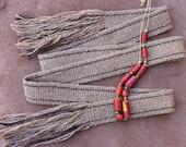 Handspun Handwoven Wool Sash, Brown, Rustic, Homespun, Ancient Style