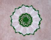 Irish Shamrock Crochet Lace Doily, Green Clover, White Openwork, New, St Patrick's Day Decor