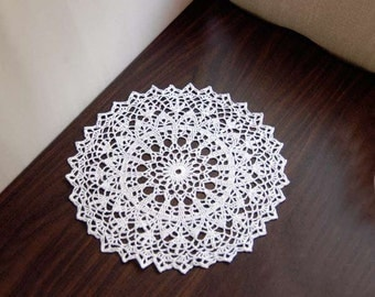 Elegant White Lace Crochet Doily, Modern Home Decor, Table Accessory