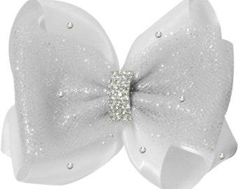 White Satin Rhinestone Embellishment Flower girl Hair Bow - Emerald cut & tulle bling hair bow clip for flower girls at the wedding