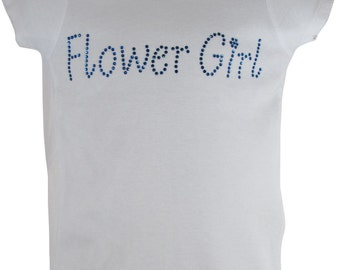 Swarovski Rhinestone Flower Girl Shirt - any colors- white with capri blue