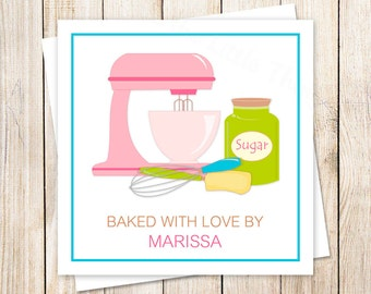 baking tags . personalized baker chef . cookie exchange stickers . baked with love . PRINTABLE homemade gifts tags . YOU PRINT
