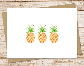 PRINTABLE pineapple cards . greeting cards . note cards, notecards . watercolor pineapples . folded stationery . stationary . blank cards