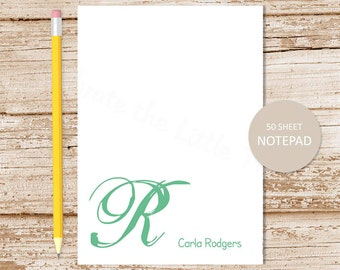 initial personalized notepad stationery . cursive initial . monogram note pad . personalized notepad . womens stationary