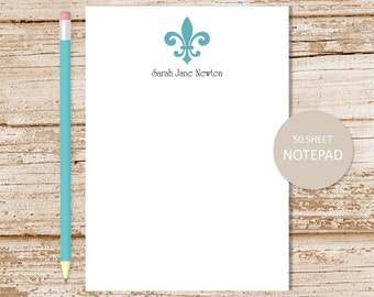 personalized  notepad . fleur de lis notepad,  note pad . personalized stationery, stationary