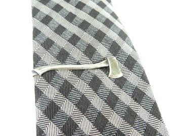 New Ax Tie Bar- Ax Tie Clip- Sterling Silver Ox or Antiqued Brass Ox Finish- Ax Tie Pin
