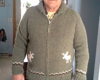 Hand Knitted Unisex Men Women Shawl Collar Zipper Cowichan Canadian Cardigan Sweater
