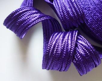 Moroccan art silk trim,mid purple , medium,  5 metres
