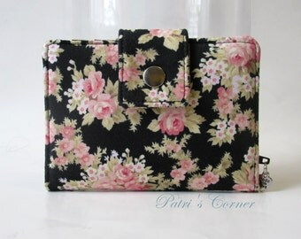 Small and slim wallet - Small floral bouquet - pink shabby chic in black - ID clear pocket - women wallet handmade purse - custom order