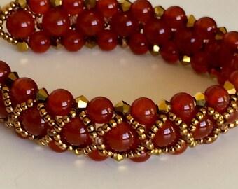 Carnelian Crossover Bracelet