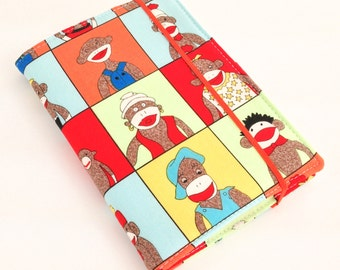 READY TO SHIP - Children's Crayon Wallet Coloring Case - Sock Monkeys
