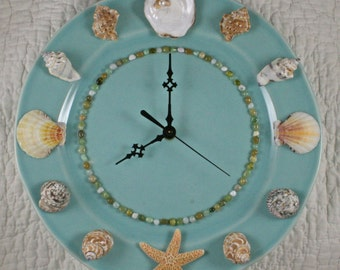 Seashell Wall Clock - Turquoise