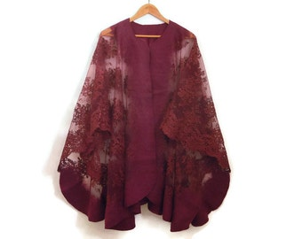 burgundy felted lace poncho