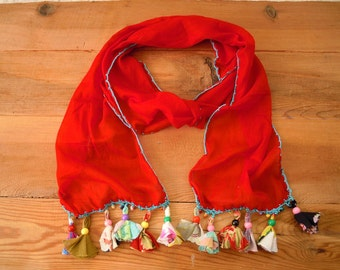 red scarf with beaded fabric fringe, cotton