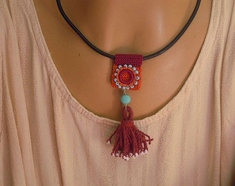 leather and crochet necklace, orange, burgundy