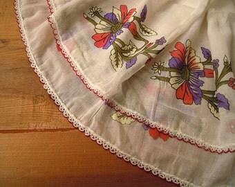 white floral scarf, crochet beaded trim, turkish scarf oya, vintage