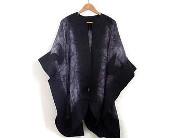 felted silk poncho, black gray