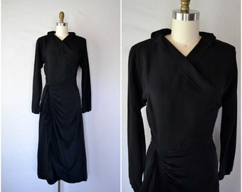 1940s black avant garde dress wrap dress / high fashion rayon winter dress / small medium