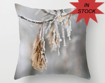 """14"""" Winter Photography Pillow Cover, Snow Cushion, Beige, White, Aluminum Grey, Frosted Branches, Accent Pillow, Gray Botanical Art Decor"""