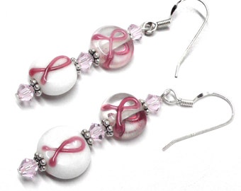 pink ribbon earrings two glass beads sterling silver gold-filled pierced clip Austrian Swarovski crystal
