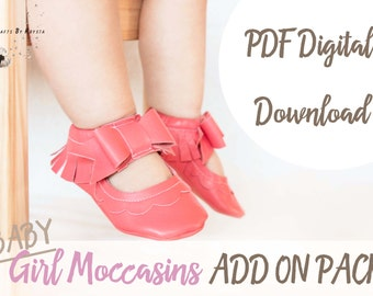 ADD ON PACK - Baby Moccasin Pattern - Leather Bow Moccasin Sewing Pattern - Baby Girl Shoe Pattern - Instant pdf digital download