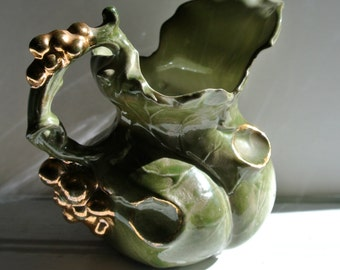 Vintage Majolica Gold Grape Handled Creamer-Grape Leaf-Hand Thrown