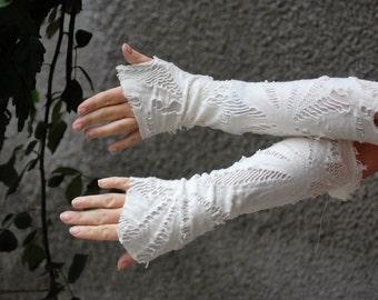 fingerless gloves,steampunk,victorian, tatter punk, zombie gloves, cream gloves, victorian ghost, halloween,alternative wedding,women,strech