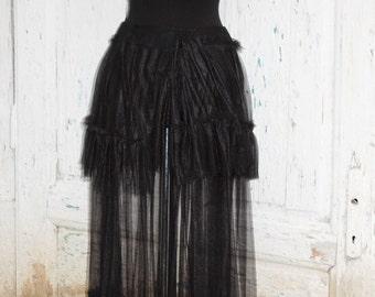 Skirt, bustle skirt, steampunk skirt, victorian, goth, noire, vampire, diva , drama, layers and frills, black tulle skirt,poe, women fashion