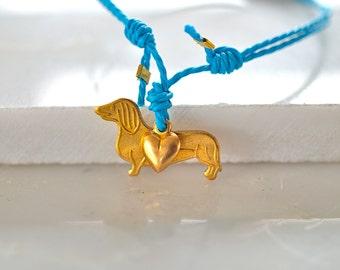 Dog and heart friendship bracelet,dachshund bracelet,sausage dog bracelet,dog sitter gift,gift for dog lover,turquoise