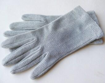 Vintage 50s Silver Stretch Lurex Metallic Short Wrist Gloves