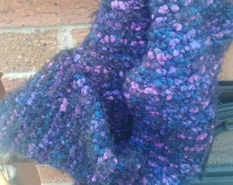 Hand knitted scarf, purple scarf, boucle scarf, accessories