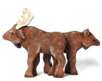Wooden Noahs Ark Moose Pair