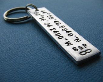Custom Coordinates Keychain, Latitude Longitude Keychain, GPS Keychain, Hand Stamped Keychain, Gift for Her, Gift for Him, Anniversary Gift
