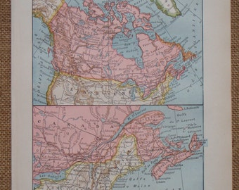 CANADA map printed in 1923 with close up of New Scotland, vintage old map from France
