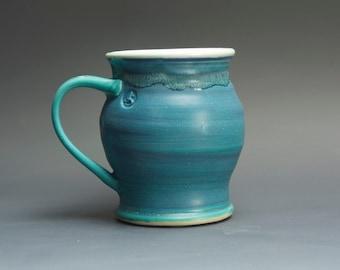 Handmade stoneware coffee mug or teacup turquoise blue 14 oz 3083