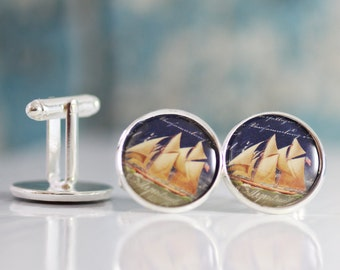 Men's Cufflinks - Men's Accessories - Men's Jewelry - Ship Cufflinks - Nautical Cufflinks - Boat Cufflinks - Gift For Men's