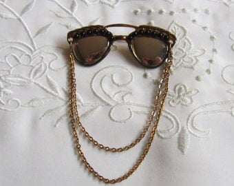 Vintage Sunglasses Brooch with Black Beads and Hanging Chains