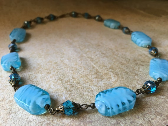 Blue Glass Necklace- Floral Bead Glass Necklace- Aqua blue Bead Necklace- Vintage Glass Necklace-Vintage Blue Choker Necklace- Vintage Glass