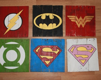 Superhero DC Comics Wood Pallet Sign