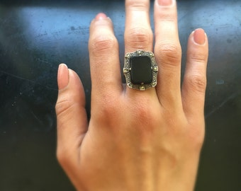 Antique Art Deco Ring / Sterling Silver Ring With Black Glass Stone and Marcasites c.1920s