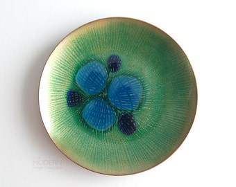 Annemarie Davidson Blue Green Jewels Enamel Plate