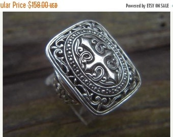 ON SALE Large medieval cross ring in sterling silver