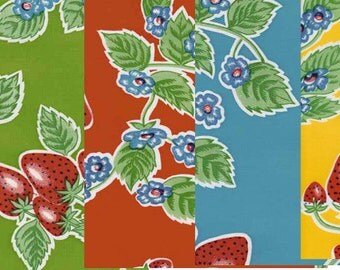 Forever Summer Strawberries Oilcloth Fabric Yardage