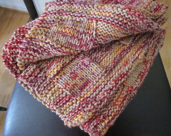 knit fall colors throw/baby blanket