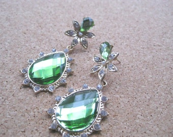 Emerald Green Teardrop shaped Earrings Lightweight for all night wear  FREE SHIPPING