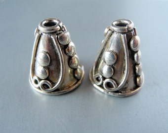 Bali Sterling Silver Cones Bead Cap Dots 15mm 14mm